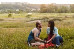 Couple romance nature picnic concept. Royalty Free Stock Photo