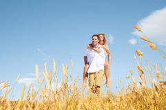 Couple Romance Piggyback Love Relaxing Concept Stock Photography