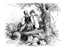 Couple romancing in countryside, old card. Countryside romance, peasant boy courting a girl, vintage Valentine engraving Royalty Free Stock Images