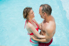 Couple romancing in swimming pool. Happy couple romancing in swimming pool on a sunny day Stock Photography