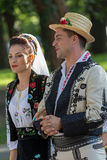 Couple from Romania in traditional costume stock photography