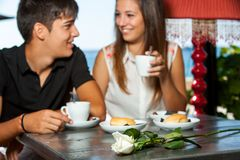 Couple on romantic coffee date. Stock Photography