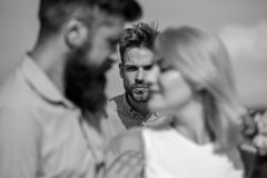 Couple romantic date lovers flirting. Lovers meeting outdoor flirt romance relations. Broken heart concept. Couple in. Love happy dating, jealous men watching royalty free stock photography