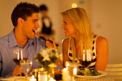 Couple romantic dinner. Loving couple having romantic dinner in a restaurant Stock Photography