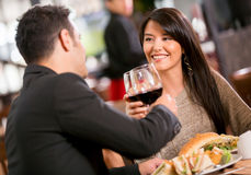 Couple in a romantic dinner Royalty Free Stock Image