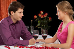 A couple on romantic dinner Stock Photos