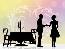 Couple romantic dinner Stock Images