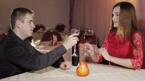 Couple romantic dinner stock video