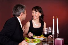 Couple at romantic dinner in restaurant Royalty Free Stock Photo