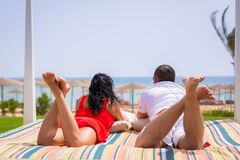 Couple on romantic holidays at Red Sea Stock Photography