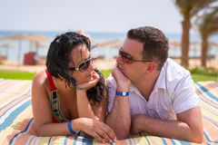 Couple on romantic holidays at Red Sea. In Egypt Stock Images