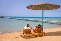Couple on romantic holidays at Red Sea Royalty Free Stock Image