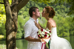 Couple romantic by a lake Royalty Free Stock Image