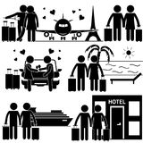 Couple Romantic Vacation Stick Figure. Couple Having Romantic Vacation Together. Stick Figure Pictogram Icon Royalty Free Stock Image