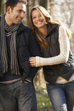 Couple on romantic walk in winter Royalty Free Stock Image