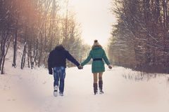 Couple On Romantic Winter Walk Royalty Free Stock Image