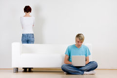 Couple in room Stock Images