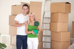 Couple in room full of cardboard boxes Royalty Free Stock Images