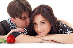 Couple with rose Stock Photos