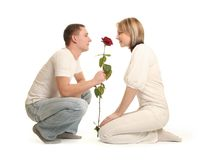 Couple and rose Royalty Free Stock Photography