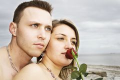Couple with rose Stock Photography