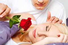 Couple rose male waking female Royalty Free Stock Image