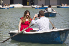 Couple in rowing boat in Madrid Stock Photography