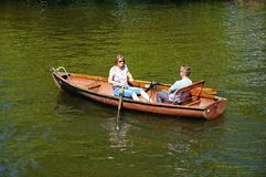 Couple in rowing boat, Stratford-upon-Avon. Stock Photography