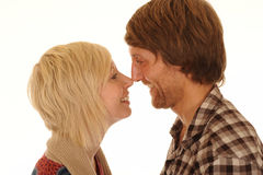 Couple rubbing noses Stock Photos