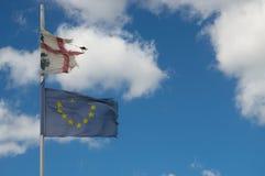 Europe abd sardinian flags Royalty Free Stock Image