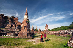 Couple in the Ruins of Ancient Thailand Stock Photos