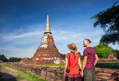 Couple in the Ruins of Ancient Thailand Royalty Free Stock Image