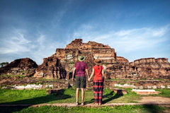 Couple in the Ruins of Ancient Thailand Royalty Free Stock Images