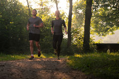 Couple Runner Running City Park Stock Images