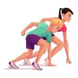 Couple of runners, sprinters ready to start, running blocks Stock Image