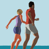 Couple running. Illustration of a young couple jogging Vector Illustration