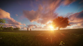 Couple running on green meadow, tree of life against beautiful sunrise. 3d animation stock video
