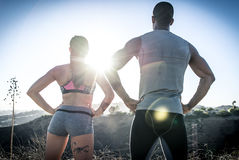 Couple running in los angeles Stock Images