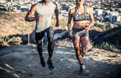 Couple running in los angeles Royalty Free Stock Photography