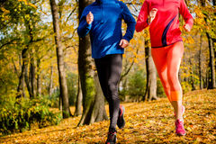 Couple running in nature Stock Photo