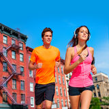 Couple running in New York city photo mount Royalty Free Stock Photography