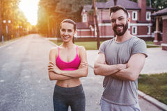 Couple running outdoors royalty free stock photo
