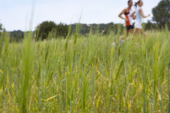 Couple running through rural field stock photography