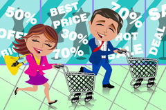 Couple Running Shopping Sale Window Shop Cart Stock Images