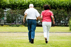 Couple Running Together In Park. Rear View Of Senior Couple Running Together In Park Stock Photo