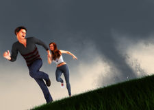 A Couple Running From Tornado Natural Disaster. A man grabbing a womans hand, fleeing tornadoes scene Stock Photography