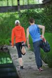 Couple  running training - rear view Royalty Free Stock Photo