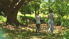 Couple running in a wood. Couple jogging along a woodland path stock video