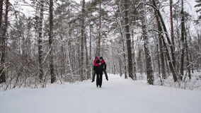 Couple runs in the winter forest. Slow motion. The young couple runs in the winter forest. Slow motion stock video