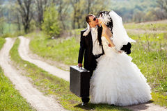 Couple on a rural road Royalty Free Stock Photography